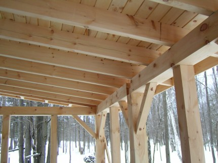 interior ceiling detail of wooden custom pergola